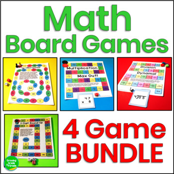 Math Skills Practice Board Games 4-Pack Common Core Aligned