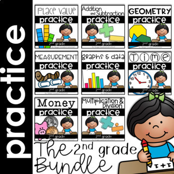 Math Skills Practice Pages Bundle for the Year Second Grade