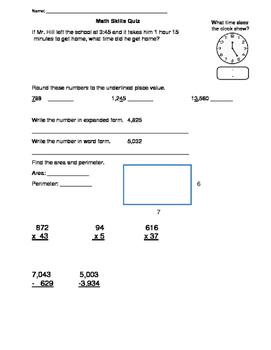 Math Skills Quiz