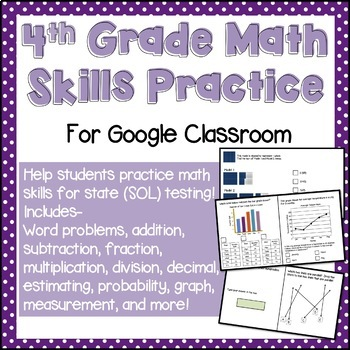 Math Skills Review Practice for Google Classroom (4th grade SOL Practice)
