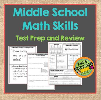 Middle School Math Skills Review- Reference Sheet - Study Guide and Test Prep
