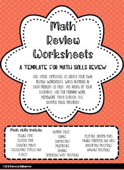 Math Skills Review Template
