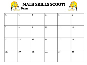Math Skills SCOOT!!