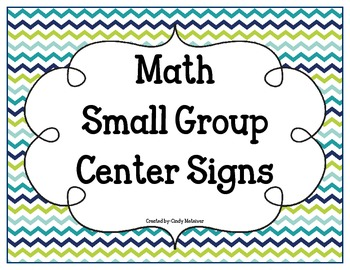 Math Small Group Center Signs with Blue Green Chevron