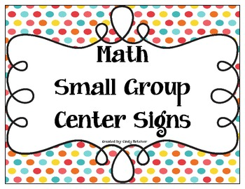 Math Small Group Center Signs with Colorful Dots