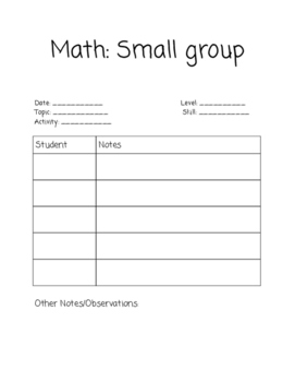 Math Small Group Conference Sheet