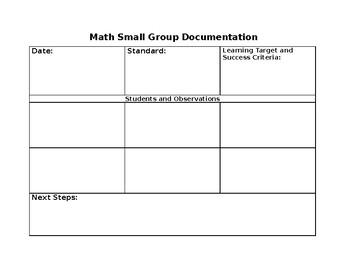 Math Small Group Documentation
