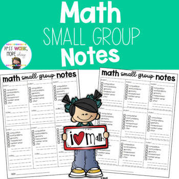 Math Small Group Note Taking Sheets
