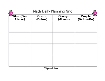 Math Small Group Planner