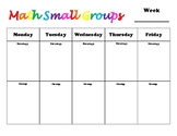 Math Small Group Planning Template