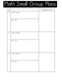 Math Small Group Plans Template