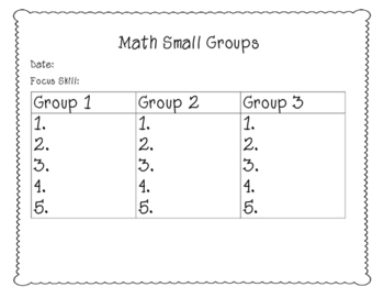 Math Small Grouping Form
