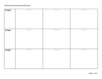 Math Small Groups - Planning Templates (For 3 - 4 Groups)
