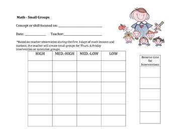 Math - Small Groups Chart