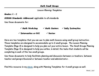Math Small Groups - Planning Templates (2 Groups)
