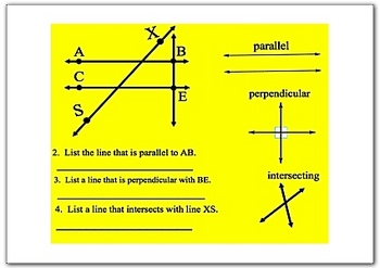 Math Smartboard Lesson Parallel, Perpendicular, and Intersecting lines