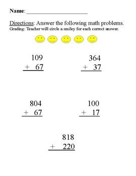 Math Smiley Addition Worksheet