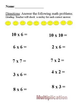 Math Smiley Multiplication Worksheet