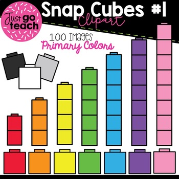 Math Snap Cubes #1 {Primary Colors} Clipart
