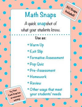 Math Snaps 3rd-5th {30 Different Math Topics to Assess Your Students}