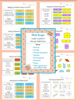 Math Snaps 3rd-5th {30 Different Math Topics to Assess You