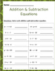 Math: Solving Addition & Subtraction Equations 4 pages 16 problems per page.