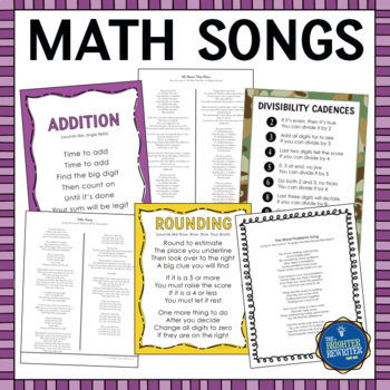 Math Song Lyrics Rhymes Chants