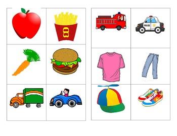 Math Sorting Center Activity (animals, food, clothing & vehicles)