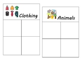 Math Sorting Center Activity (animals, food, clothing & vehicles)