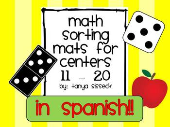Math Sorting Mats 11 to 20 in Spanish