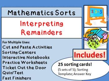 Math Sorts Division Involving Interpreting Remainders