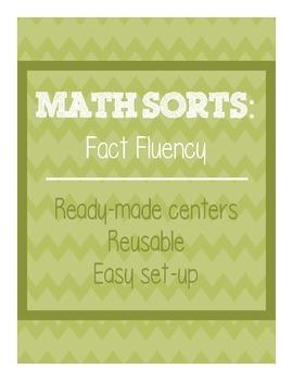 Math Sorts - Fact Fluency (Reusable Self-Checking Centers)