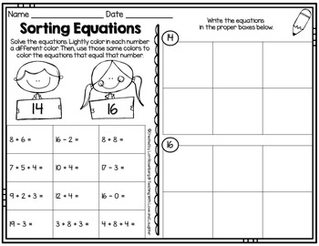 Math Sorts for First Graders