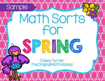 Math Sorts for Spring - Sample Freebie