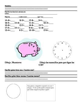 Math Spanish Daily Drill