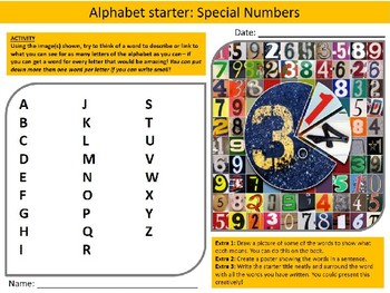 Math Special Numbers Wordsearch Crossword Anagram Alphabet Keyword Starter