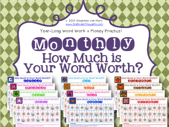 Math + Spelling = How Much is Your Word Worth? {MONTHLY BUNDLE}