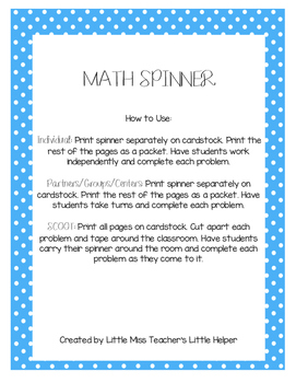 Math Spinner Practice