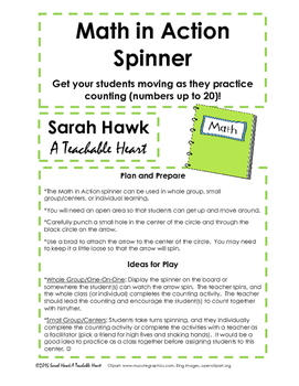 FREEBIE! Math Spinner for Counting Practice (up to 20)