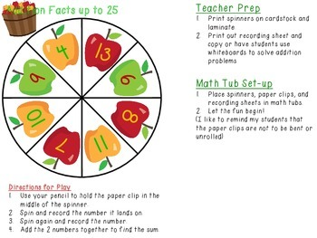 Math Spinners for 2 digit addition with and without regrouping