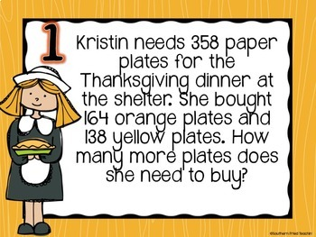 Thanksgiving Math Spiral Review - 3rd Grade