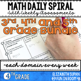 Math Spiral Review- 3rd, 4th and 5th Grade Bundle!