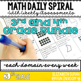 Math Spiral Review- 3rd and 4th Grade Bundle!