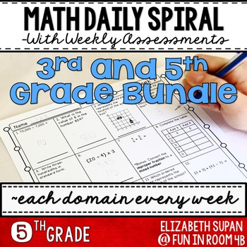 Math Spiral Review- 3rd and 5th Grade Bundle!