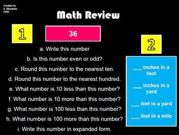 Math Spiral Review 3rd grade weeks 18-36
