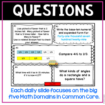 September Daily Math Spiral for 4th Grade (Common Core)