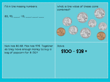Math Spiral Review Boxes: Money & Coins