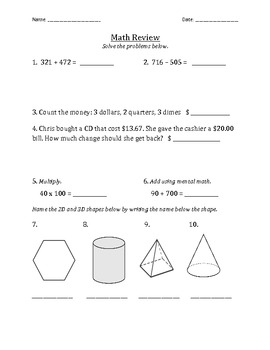 Math Spiral Review Quiz & Test Prep -- add, subtract, multiply and more!