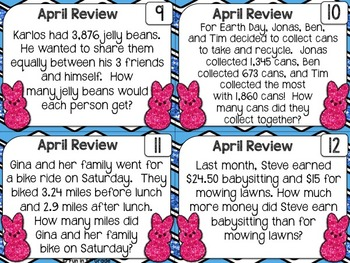 Math Spiral Review Task Cards for April {5th Grade}