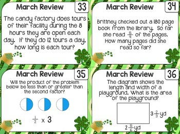 Math Spiral Review Task Cards for March {5th Grade}